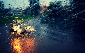 Picture road, car, machine, glass, water, drops, macro, light, city, the city, background, rain, widescreen, Wallpaper, …