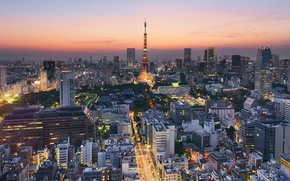 Picture the city, lights, building, road, skyscrapers, the evening, Japan, backlight, Tokyo, panorama, Tokyo, Japan, Odaiba, ...