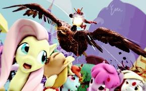 Picture eagle, murder, machine gun, deadpool, my little pony, pony