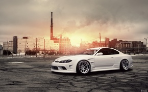 Picture the sun, plant, white, S15, Silvia, Nissan, white, Blik, Nissan, front, Sylvia, kit