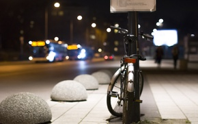 Picture bike, the city, lights, street, lights, Krakow