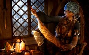 Picture girl, tube, pirate, lantern, braids, smokes, bandana, reads, cabin, 3d art