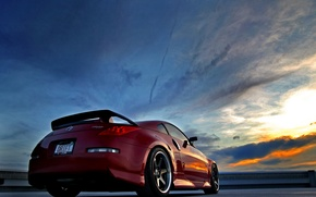 Wallpaper Sunset, Red, Nissan, Nissan