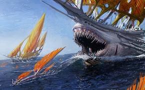 Picture sea, fiction, danger, sailboat, monster, ships, art, mouth, fangs