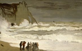 Picture Claude Monet, picture, Stormy Sea in étretat, storm, seascape, shore, people