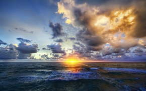 Picture sea, wave, the sun, sunset, clouds, the evening