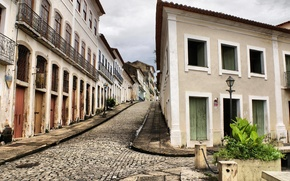 Picture Home, Street, Stones, Lantern, Windows, Bridge