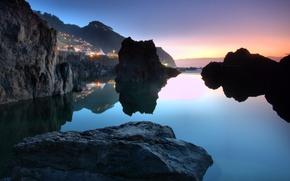 Wallpaper Portugal, water, town, Porto Moniz, the ocean, the sky, stones, sunset
