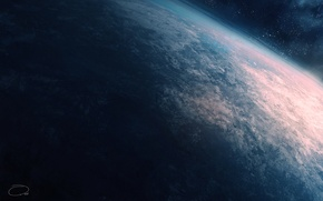 Picture space, earth, planet, the atmosphere, art, QAuZ