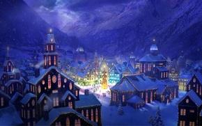 Picture snow, mountains, the city, lights, holiday, figure, tree, home