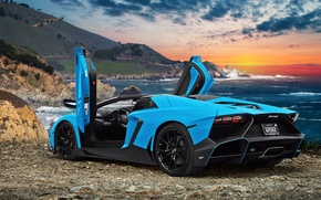 Picture sea, the ocean, coast, photoshop, Lamborghini, supercar, Aventador, Lamborghini Aventador, Lamborghini Aventador LP720-4 50 Anniversary