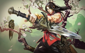 Picture tree, sword, petals, Sakura, warrior, art