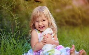 Picture joy, mood, rabbit, girl
