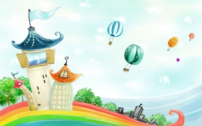 Picture balloons, rainbow, houses