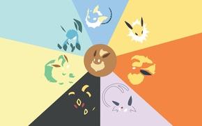 Picture Minimalism, Pokemon, Lifeon, Espeon, Glaceon, evolution Evie, Vaporeon, Flareon, Amberen, Evie, Jolteon