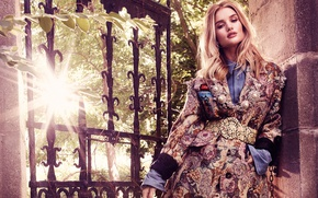Picture the sun, trees, model, makeup, actress, hairstyle, blonde, coat, wicket, photoshoot, Rosie Huntington-Whiteley, Rosie Huntington-Whiteley, …