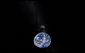 Picture space, stars, planet, The moon, Earth