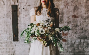 Picture girl, flowers, the bride, white dress