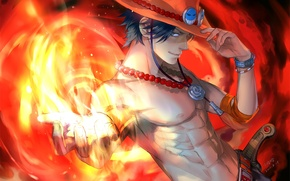 Picture fire, hat, anime, art, guy, One Piece