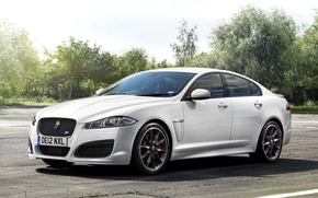 Picture Jaguar, White, Machine, Jaguar, Desktop, Car, Car, White, Wallpapers, Beautiful, Wallpaper, The front, UK-Spec, Speed ...