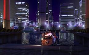Picture machine, the city, lights, sport, building, cartoon, Tokyo, truck, race, sport, the series, Pixar, Cars, …