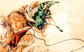 Picture butterfly, dove, headphones, girl, closed eyes, singing