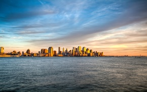 Picture sea, wave, the sky, water, clouds, landscape, sunset, view, island, New York, the evening, Manhattan, …