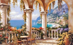 Picture sea, flowers, the city, picture, columns, painting, terrace, painting, Sung Kim