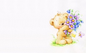 Picture summer, flowers, bouquet, art, bear, children's, Marina Fedotova