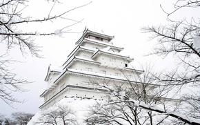 Wallpaper winter, snow, castle, Japan, garden