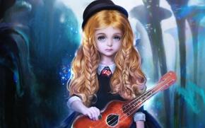 Picture guitar, hat, art, girl, braids