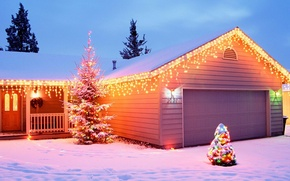 Picture decoration, house, new year, Santa
