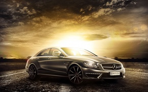 Picture Mercedes-Benz, Car, AMG, Sunset, CLS 63, Class, 2014, Premium