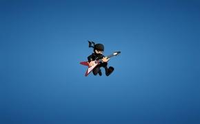 Picture guitar, minimalism, ninja, red, blue background, ninja