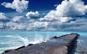 Picture sea, the sky, clouds, landscape, bridge, the ocean, beauty, water splashes