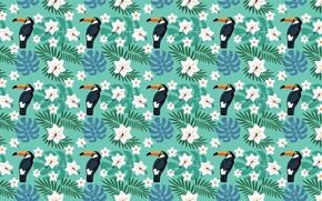 Wallpaper flowers, birds, tropics, Toucan
