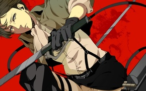 Picture look, blood, gloves, swords, braces, levi, shingeki no kyojin, the invasion of the giants, drive