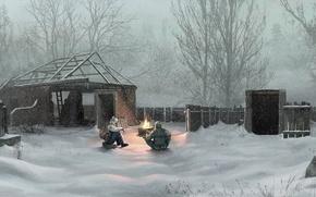 Wallpaper winter, snow, village, Chernobyl, stalker, Ukraine