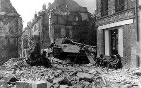 Picture soldiers, tank, ruins, The second world war, Panther, PzKpfw V, WW2, Panzerkampfwagen V
