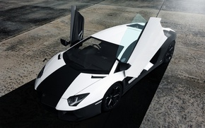 Picture white, black, Lamborghini, before, white, black, front, aventador, Lamborghini, aventador