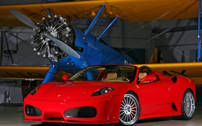 Wallpaper The plane, Hangar, Ferrari