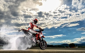 Picture the sky, motorcycle, bike, Ducati, 2015, Hypermotard