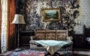 Wallpaper picture, sofa, table
