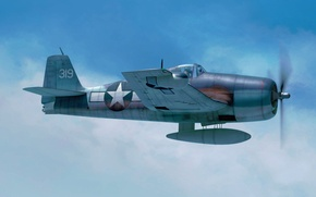 Picture war, art, airplane, painting, aviation, ww2, F6F-3 Hellcat