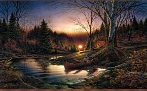 Picture autumn, forest, river, sunrise, boat, dog, morning, tent, painting, deer, migratory birds, Terry Redlin, Morning ...