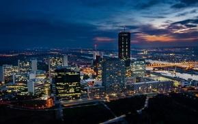 Picture building, the evening, Austria, evening, Austria, Vienna, Vienna, Donau City