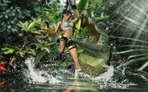 Picture water, girl, guns, teeth, crocodile, mouth, Lara Croft, Tomb raider, attacks