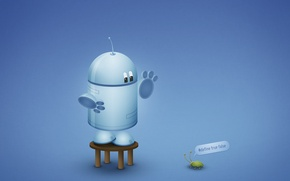Wallpaper Android, bug, blue, robot, Android