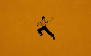 Wallpaper minimalism, Bruce Lee, Bruce Lee, kung fu, dark orange, Nunchuck