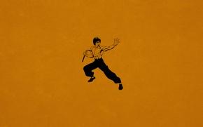 Picture minimalism, Bruce Lee, Bruce Lee, kung fu, dark orange, Nunchuck